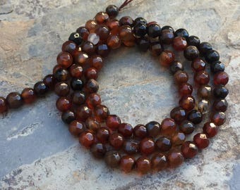 Brown Agate Beads, Round Agate Beads, Faceted Agate Beads, 4mm, 14 inch strand