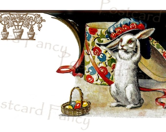 Charming EASTER BUNNY with hat, Instant Digital Download, Printable Image from Vintage Postcard