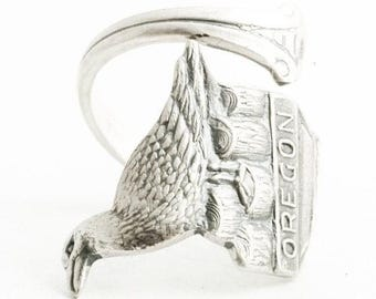 Oregon Seagull Ring, Spoon Ring Sterling Silver, Oregon State Jewelry, Thumb Ring, Unique Gift for Him or Her, Adjustable Ring Size (6455)