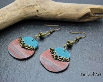 Earrings - copper - polymer clay collection