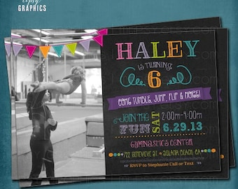 Tumble, Jump Flip & More. Photo Chalkboard Trampoline or Gymnastics Birthday Party Invite by Tipsy Graphics