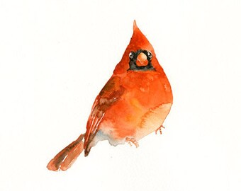 CARDINAL-5x7inch- Art Print-Bird Watercolor Print-Giclee Print-nursery art