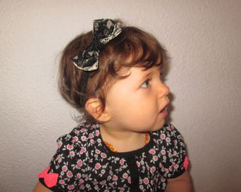 Headband bow with lace 12/36 months - hand-made realization