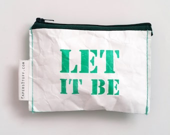 Best Friend Gift, Inspiration gift, paper Wallet, LET IT BE, gift idea, eco-friendly purse, zipper coin purse, one off a kind Coin Wallet