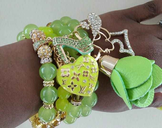 Designer Inspired Ladies Lemon Lime Heart Bracelet Stack, stackable Bracelet's, birthday gifts, Beaded Bracelet Stack