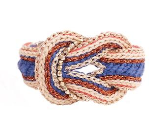 Crochet Hippie Chic graphic Retro fetish blue bracelet