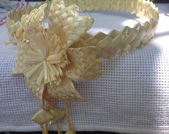 Traditional slavic straw headband with a flower