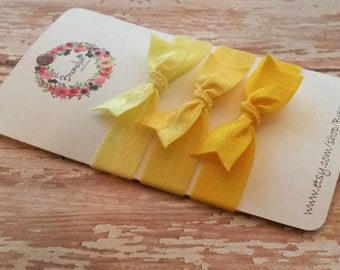 No Crease Elastic Hair Tie with Bow--Set of Three--Daffodil, Buttercup, and Yellow Gold--One Size Fits All