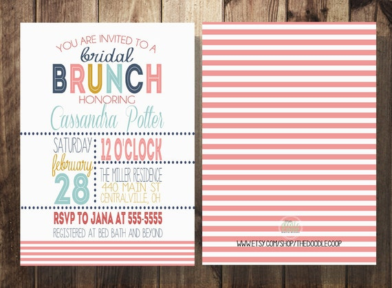 Bridal Shower Brunch Invitation Bridal Shower Coral Navy