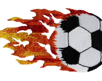 Dsx Soccer Ball With Flames Patch - Officially Licensed Original Artwork, 2.2' x 4.4', Iron-On / Sew-On Embroidered Patch