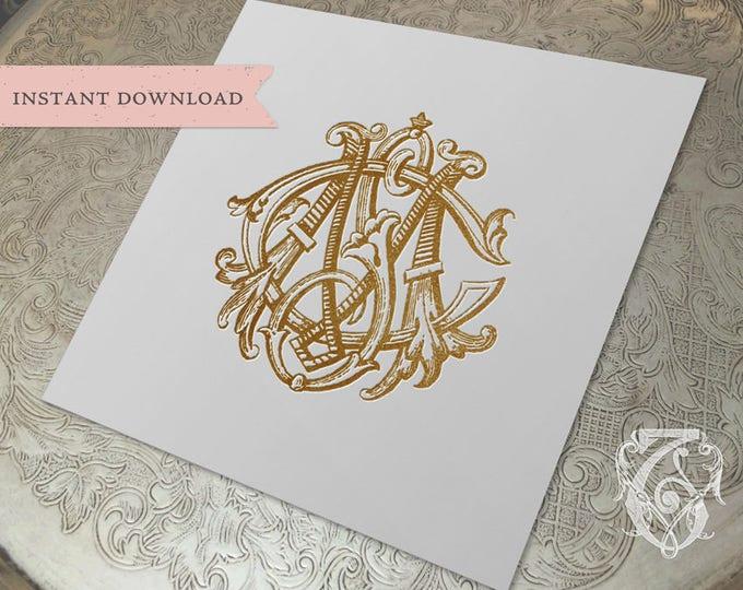 3 Initial Vintage Monogram MSC  Three Letter Wedding Monogram Digital Download CSM  SMC cMs