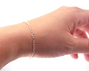 Classic 925 Sterling Silver Bracelet, Thin Silver Chain Bracelet, Simple Everyday Sterling Silver Bracelet, Dainty Sterling Silver Bracelet