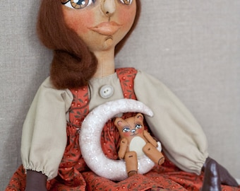 Sweet, One of a Kind, Numbered Folk Art Doll in Red with Teddy Bear sitting on White Glittery Crescent Moon Soft Sculpture