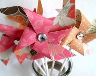 Paper Pinwheel Wedding Guest Favors Pinwheel Toppers Guest Gift Favors Pinwheel Cake Topper Wedding Favors Wedding Cake Topper Baby Shower