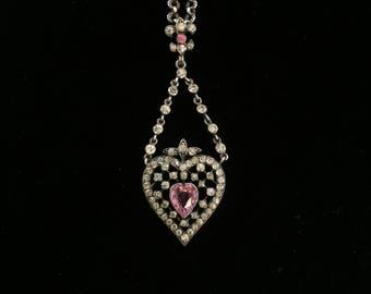 antique french paste heart necklace valentines day necklace sacred heart