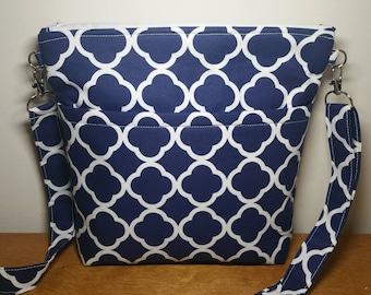 Navy Crossbody Bag, Shoulder Bag, Purse with adjustable Strap, Gift for Her