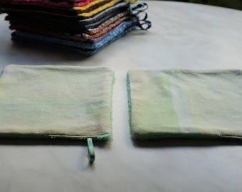 Set of 2 towel wipes washable, reusable, recycled fabrics, zero waste