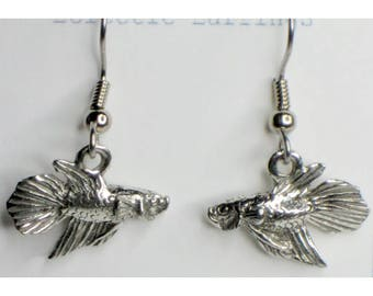 Fighting Fish earrings - pewter on surgical steel wires - Nickel free