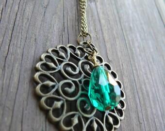 Artisan Copper Pendant Long Necklace with Emerald Teardrop Bead