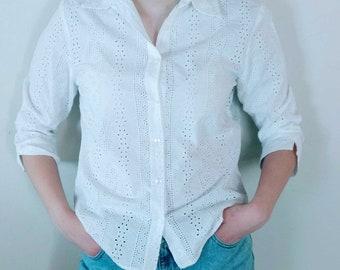 Vintage White Eyelet Blouse Button Down 3/4 Length Long Sleeve Bohemian Boho Prairie Style Fashion Size Medium Cotton Top