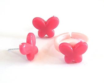 Dress children girl: pink butterfly ring and Stud Earrings