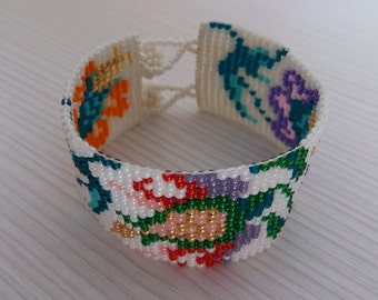 Loom beaded bracelet, oriental beauty, colourful, shiny beads, Toho treasure, special gift for her