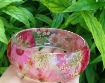 Pressed Flower Jewelry- Real Flower Bangle- Real Flower Resin Jewelry - Jewelry made with Flowers- Pink Flower Bracelet-Rose-Larkspur