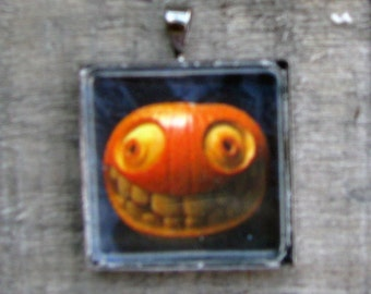 Scary Pumpkin Necklace Carved Pumpkin Emoticon on 24 Inch Silver Ball Chain