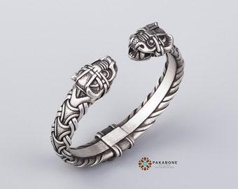 Viking Bracelet With Dragon's Head Scandinavian Arm Ring Viking Jewelry Pewter 000-940