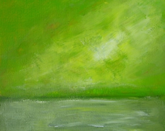 Spring Feel Green Abstract Landscape Painting on Paper Original Painting Spring Abstract Spring Green Acrylic Painting Spring Smells 10x10""