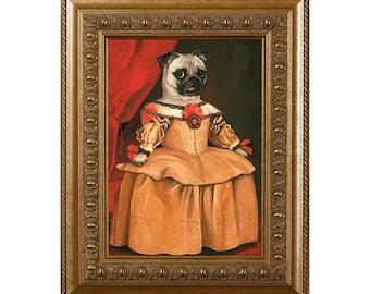 Pug Dog Magnet, Midge Marie, Refrigerator Magnet, Pug Gifts