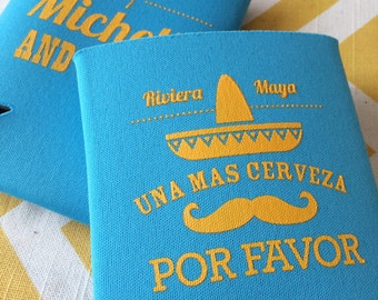 Mexico Destination Wedding can coolers, Sombrero Fiesta coolies, sombrero wedding favors, Destination wedding can coolers, stubby holders