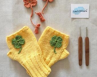 Hand knit with a soft yarn / Winter trends. Valentines days. Shamrock / EtsyXO. St . Patricks days. Winter fashion. Yellow Glove / Gloveshop