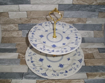 Vintage Blue White Floral Cake Stand 2 or 3 Tier with Gilt Fittings Salem Yorktown Olde Staffordshire Afternoon Tea Party Special Occasion
