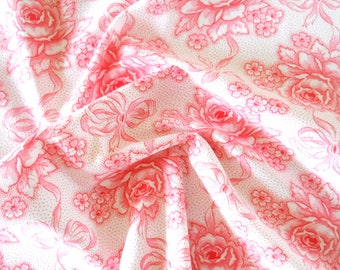 pink french floral fabric vintage fabric floral fabric for patchwork quilting fabric antique pink roses fabric vintage floral fabric 202