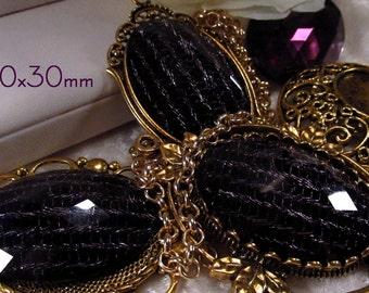 40x30mm - Black/Lavender Fashion Cabochon - 3 pc : sku 01.26.13.11 - U4