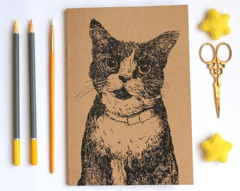 A5 Cat Notebook With Kraft Cover Plain Pages Blank A5 Notebook