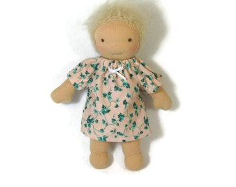 Peach and green ivy pattern doll dress, toy clothing, tiny doll dress