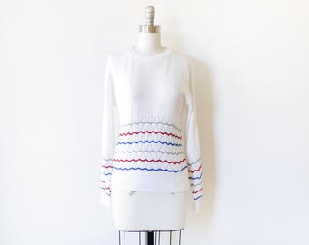 vintage 80s sweater, red, white, and blue, sweater, 1980s chevron sweater, pullover knit top, medium m