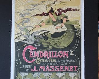 French Poster/Original/Opera Cendrillon/Emile Bertrand/1899/Vintage