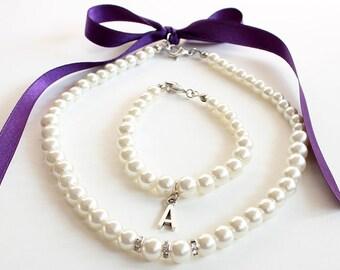 Personalized childrens bracelet necklace, flower girl jewelry, purple flower girl jewelry, flower girl gift, pearl necklace bracelet