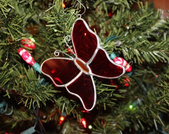 Stained glass butterfly ornament red