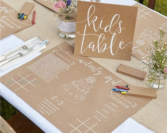Rustic Country Kids Activity Pack - Wedding the kids Table -Wedding Day - colouring place mat