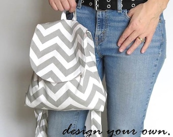 Backpack purse. Design your own in chevrons, paisley, polka dots, linens. color trends rose, gray, lavender, and more.