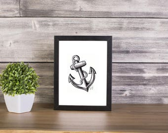 Anchor handmade Drawing, Digital Print, Art Print, Made in pencil, charcoal and ink, Tattoo Sketch