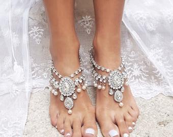 Barefoot Sandals/Beach Wedding/Barefoot Sandal/Destination Wedding/Foot Jewelry/Barefoot Sandal Wedding/Wedding Shoes/Anklet/MALINA design