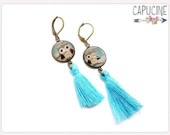 Owls earrings - Chandelier earrings - Tassel earrings - Glass dome owl