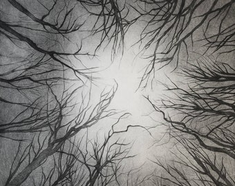Burning forest, tree, original print, dry point etching