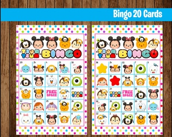 Tsum Tsum Bingo Game - Printable - 20 different Cards - Party Game Printable - Half Page Size - INSTANT DOWNLOAD