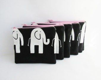 Set of 6 - Elephant Cosmetic Bags - Makeup Bags - Bridesmaid Purse - Zip Wallet - Birthday, Team Gift - Gift for Her - Small